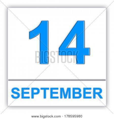 September 14. Day on the calendar. 3D illustration