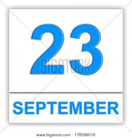 September 23. Day on the calendar. 3D illustration