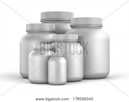 Cans of protein or gainer powder. 3d illustration