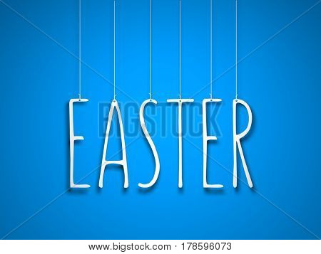 Easter. Text hanging on the rope on blue background. 3d illustration