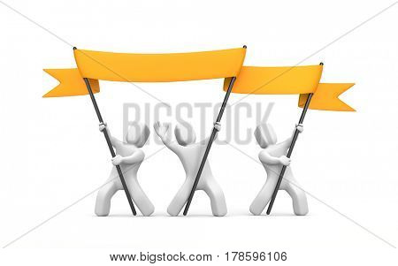 Two 3D character stretch orange banner. 3d illustration
