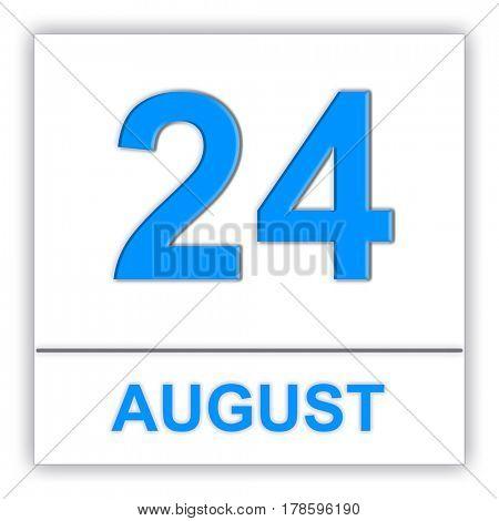 August 24. Day on the calendar. 3D illustration