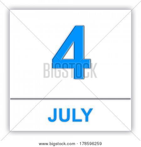 July 4. Day on the calendar. 3D illustration
