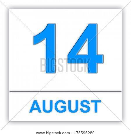 August 14. Day on the calendar. 3D illustration
