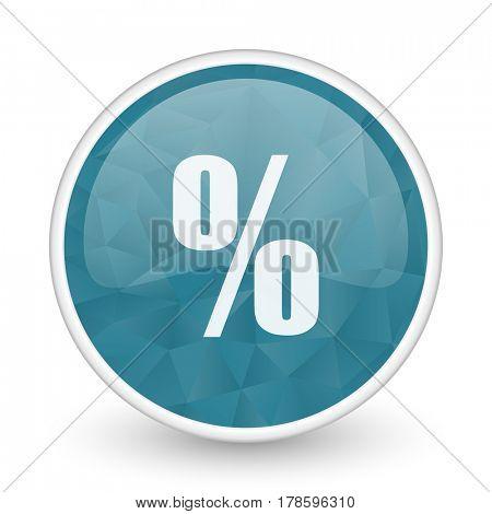 Percent brillant crystal design round blue web icon.