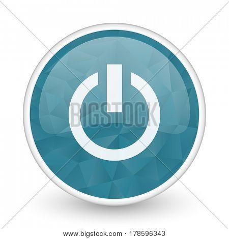 Power brillant crystal design round blue web icon.
