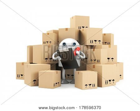 Robot with clipboard and pen - warehouse worker. 3d illustration