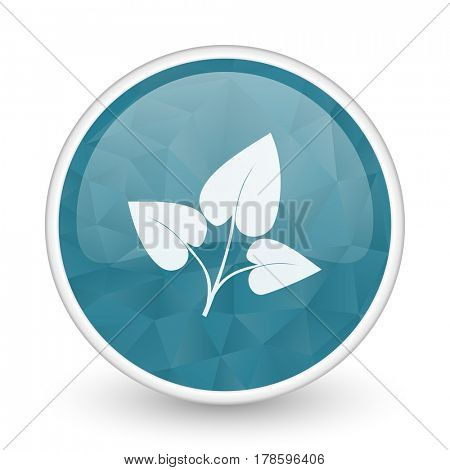 Leaf brillant crystal design round blue web icon.