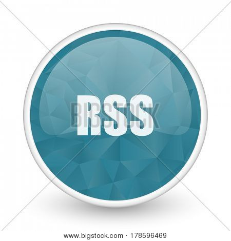 Rss brillant crystal design round blue web icon.