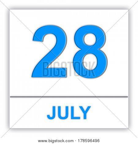 July 28. Day on the calendar. 3D illustration