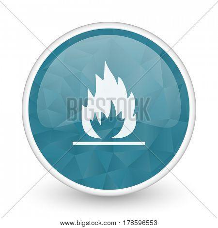 Flame brillant crystal design round blue web icon.