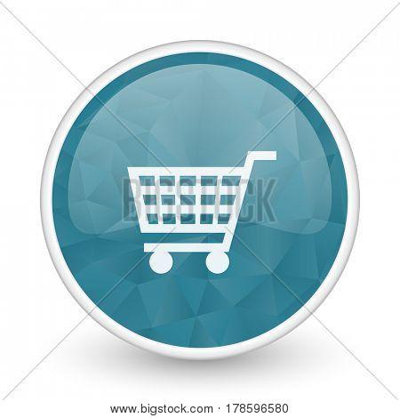 Cart brillant crystal design round blue web icon.