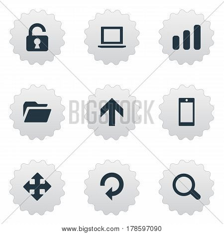 Vector Illustration Set Of Simple Practice Icons. Elements Magnifier, Arrows, Refresh And Other Synonyms Refresh, Upward And Touchscreen.