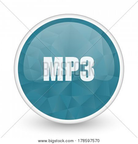 Mp3 brillant crystal design round blue web icon.
