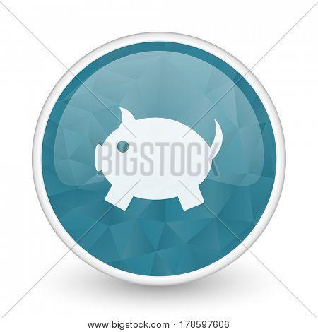 Piggy bank brillant crystal design round blue web icon.