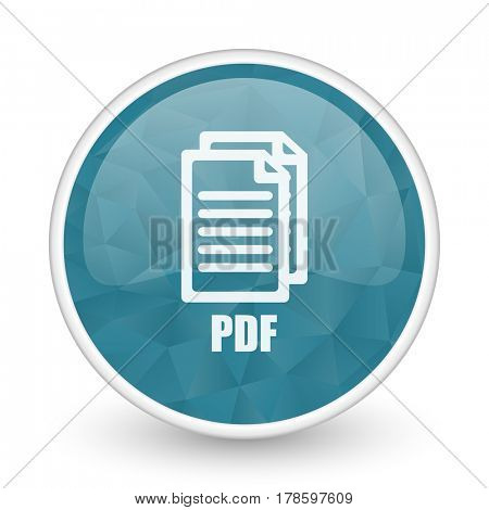 Pdf brillant crystal design round blue web icon.,