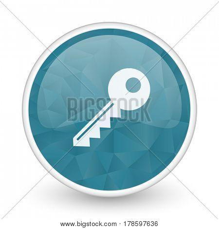 Key brillant crystal design round blue web icon.
