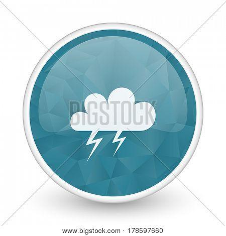 Storm brillant crystal design round blue web icon.