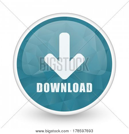 Download brillant crystal design round blue web icon.