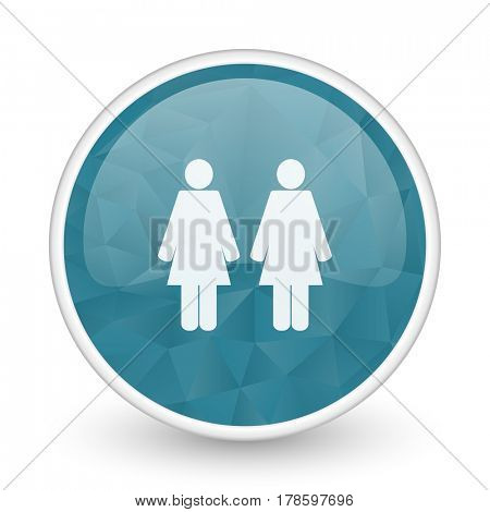 Couple brillant crystal design round blue web icon.