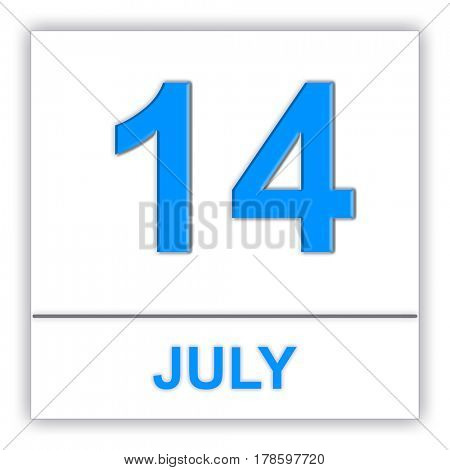 July 14. Day on the calendar. 3D illustration