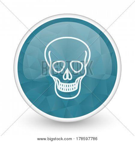 Skull brillant crystal design round blue web icon.