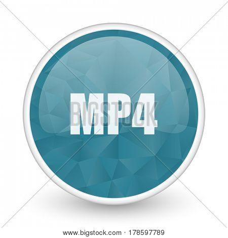 MP4 brillant crystal design round blue web icon.