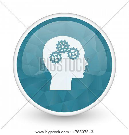 Head brillant crystal design round blue web icon.