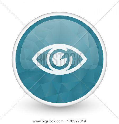 Eye brillant crystal design round blue web icon.