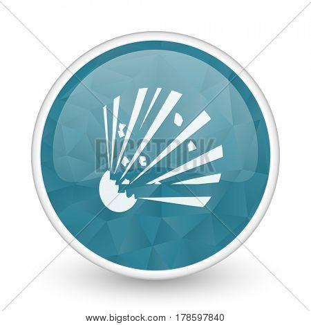 Bomb brillant crystal design round blue web icon.