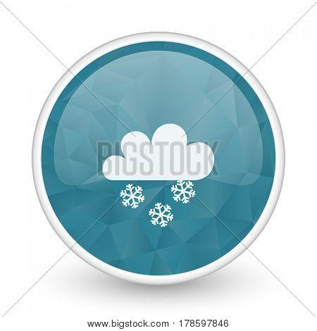 Snowing brillant crystal design round blue web icon.