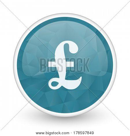 Pound brillant crystal design round blue web icon.