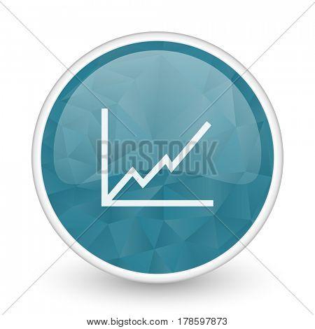 Chart brillant crystal design round blue web icon.