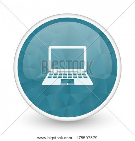 Computer brillant crystal design round blue web icon.
