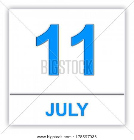 July 11. Day on the calendar. 3D illustration