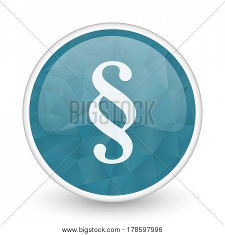 Paragraph brillant crystal design round blue web icon.