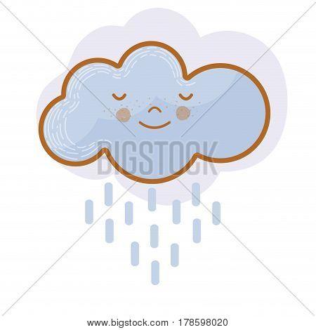 kawaii tranquil cloud raining icon, vector illustration design