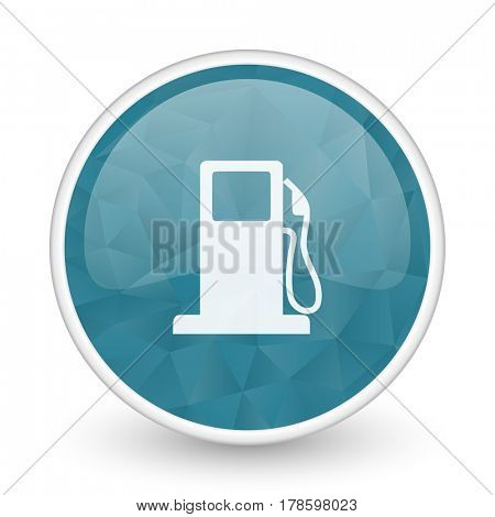 Petrol brillant crystal design round blue web icon.
