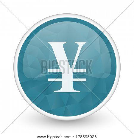 Yen brillant crystal design round blue web icon.