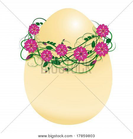 Vector Illustration Of An Egg In A Wreath Of Flowers