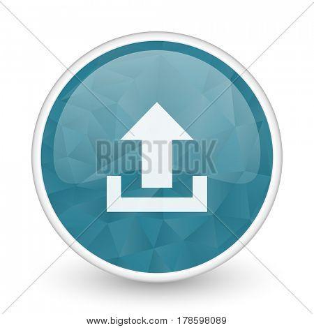 Upload brillant crystal design round blue web icon.