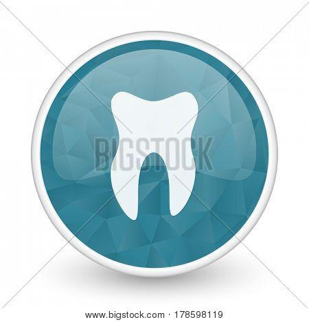 Tooth brillant crystal design round blue web icon.