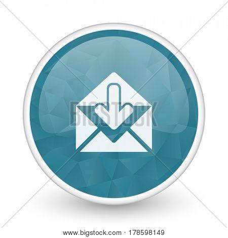 Email brillant crystal design round blue web icon.