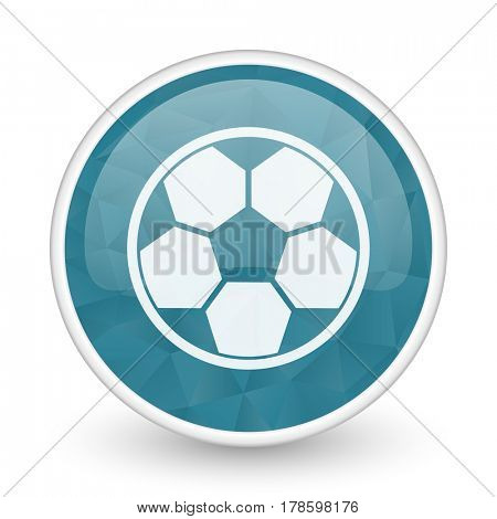 Soccer brillant crystal design round blue web icon.