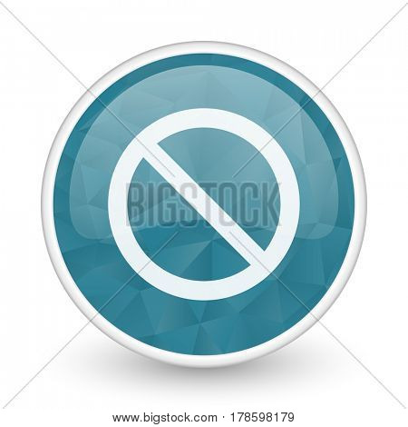 Access denied brillant crystal design round blue web icon.