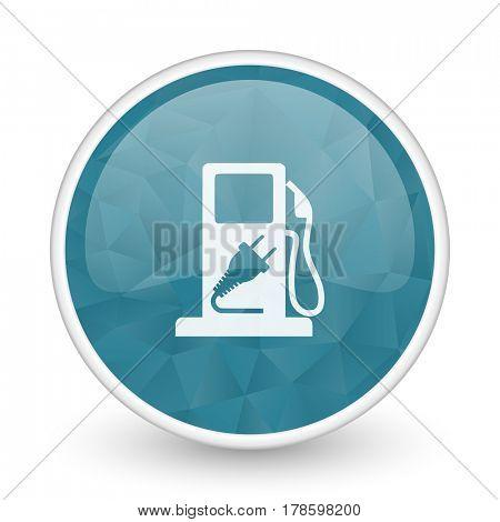 Fuel brillant crystal design round blue web icon.