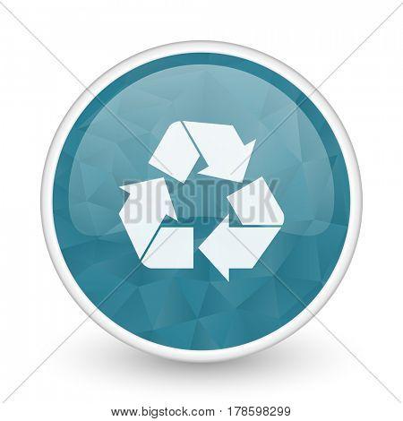 Recycle brillant crystal design round blue web icon.