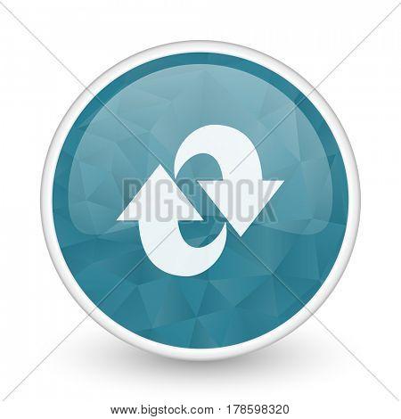 Rotation brillant crystal design round blue web icon.