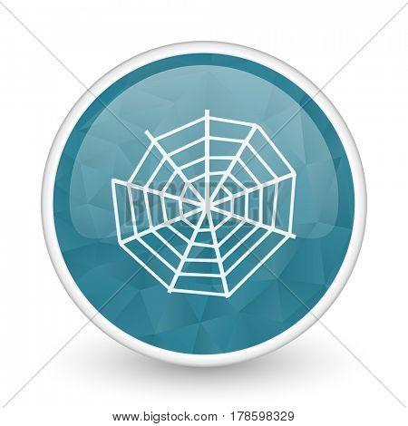 Spider web brillant crystal design round blue web icon.