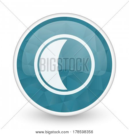 Moon brillant crystal design round blue web icon.